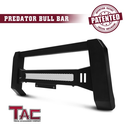 TAC Modular Bull Bar Fit 2018-2019 Jeep Wrangler JL/2020 Jeep Gladiator Front Bumper Brush Bumper Grille Guard Textured Black LED Off-Road Lights Predator Mesh Version (License Plate Bracket Included) ()