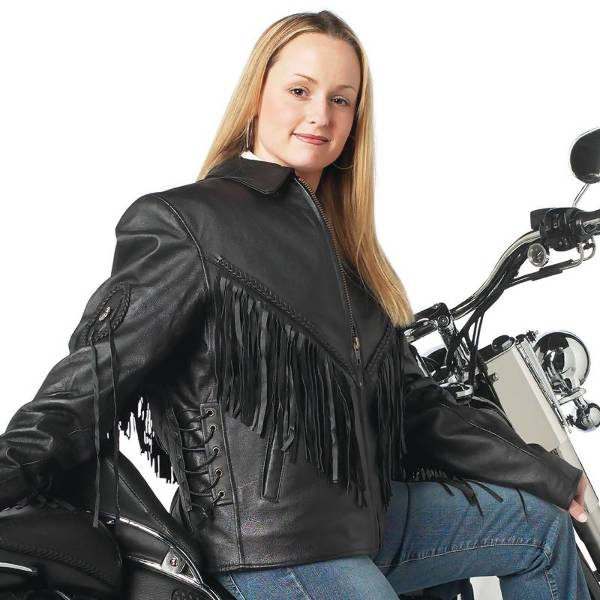 Diamond Plate Ladies' Genuine Leather Motorcycle Jacket- 2xl (pack Of 1)
