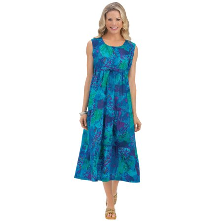 Tiered Dress Cover - Women's Tropical Print Tiered Cotton Sleeveless Summer Dress with Scoop Neckline, X-Large, Turquoise