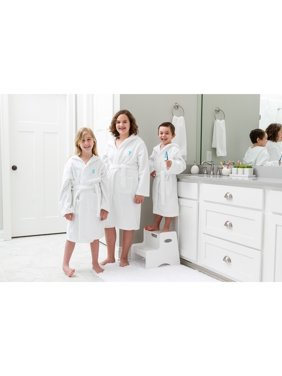 Linum Home Sweet Kids Turkish Cotton Terry White with Aqua Blue Block Monogram Hooded Bathrobe