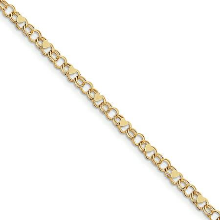 10k Yellow Gold Double Link Heart Charm Bracelet 7 Inch