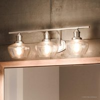 "Urban Ambiance Luxury Vintage Bathroom Vanity Light, Large Size: 7.5""H x 25.5""W, with Farmhouse Style Elements, Brushed Nickel Finish, UQL2971 from the Bolton Collection"