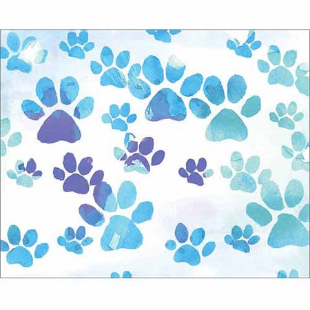 Paw Print Dog Cat Animal Pet Watercolor Painting Blue & White Canvas Art by Pied Piper