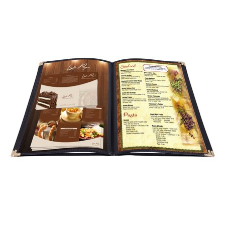 Yescom 20x Menu Cover 8.5x11inches 4 Page 8 View Restaurant Deli Cafe Black Trim Folder Clear Volume
