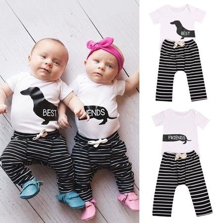 Best Outfits For Girls (Matching Best Friends Newborn Baby Boy Girl Romper Tops+Pants Outfit Clothes)