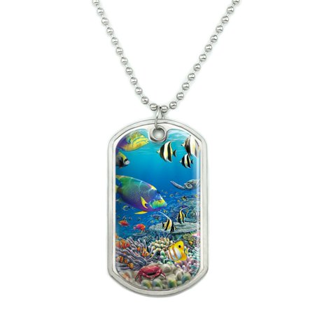 Ocean Coral Reef Angel Fish Garden Diving Military Dog Tag Pendant Necklace with Chain Angel Fish Necklace
