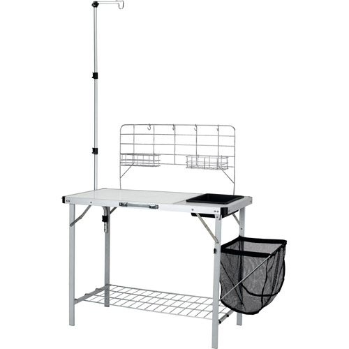 Ozark Trail Portable Camp Kitchen and Sink Table with Lantern Pole