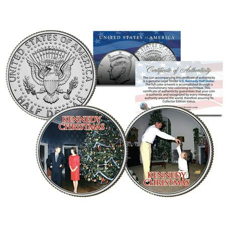 KENNEDY CHRISTMAS Colorized JFK Half Dollar U.S. 2-Coin Set JR Jackie JOHN F