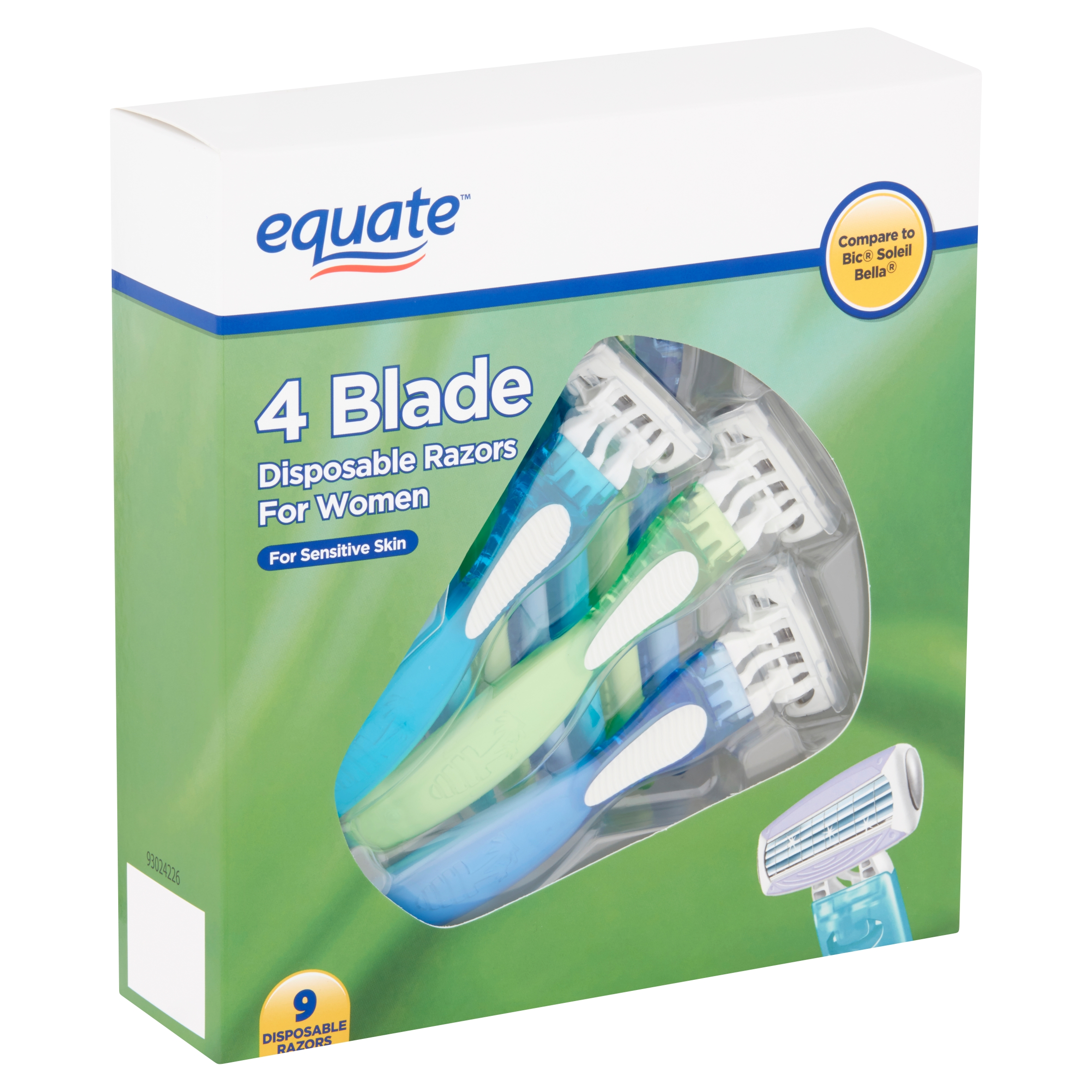 Equate 4 Blade Disposable Razors for Women, 9 count