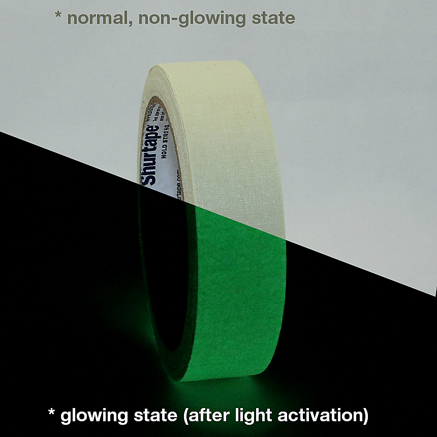Shurtape P-661 Glow in the Dark Gaffers Tape: 1 in. x 30 ft. (Luminescent Lime Green)