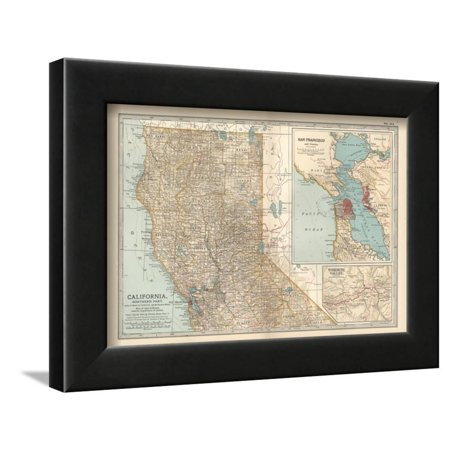 Map of California, Northern Part. United States. Inset Maps of San Francisco and Yosemite Valley Framed Print Wall Art By Encyclopaedia (Best Way To Visit Yosemite From San Francisco)