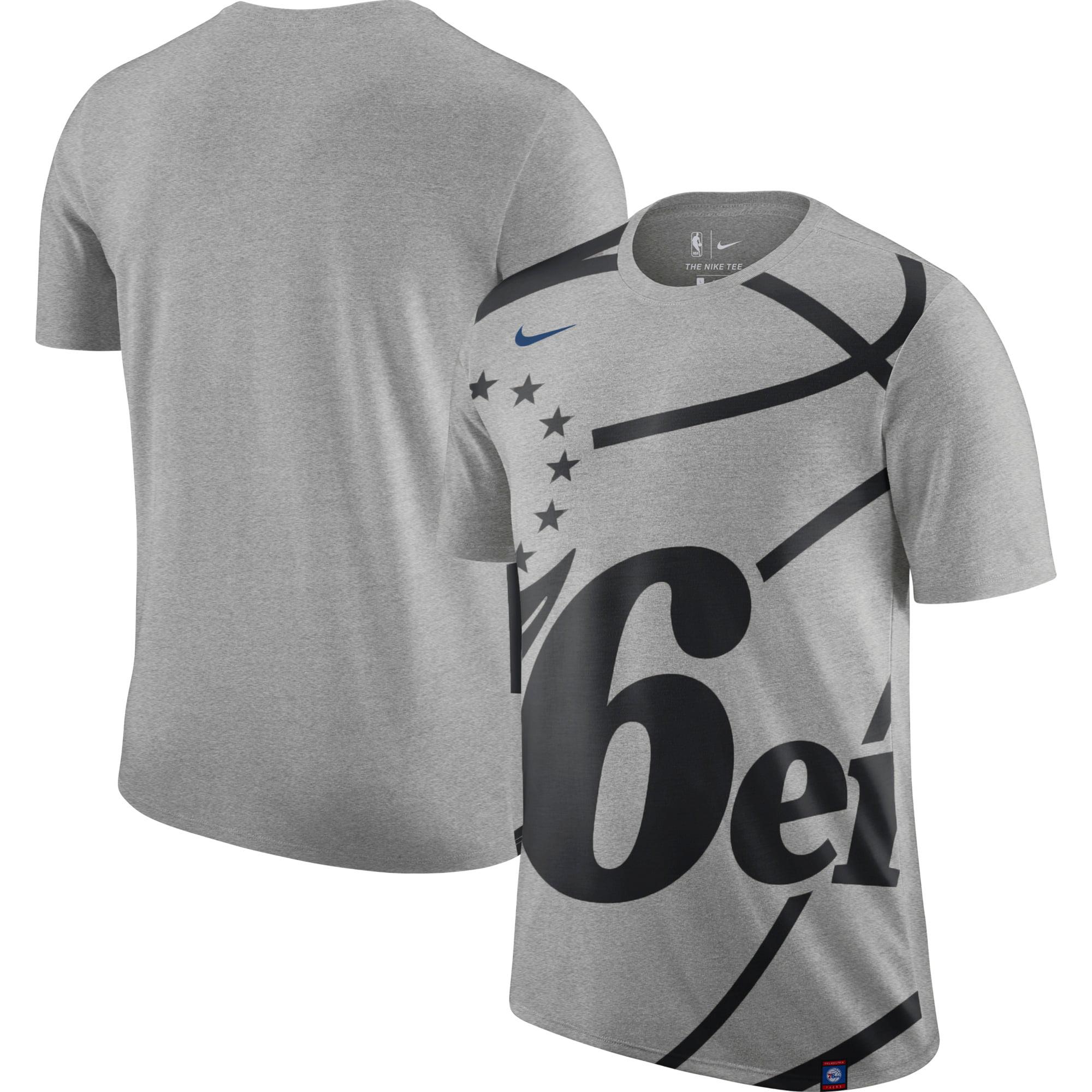 Philadelphia 76ers Nike Oversize Logo Performance Tri-Blend T-Shirt - Gray