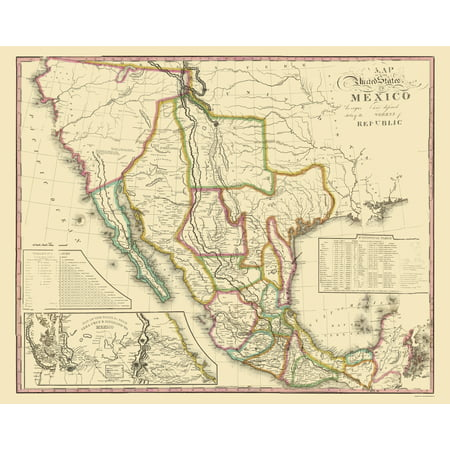Old Mexico Map United States Of Mexico Tanner 1826 23 X 28 84