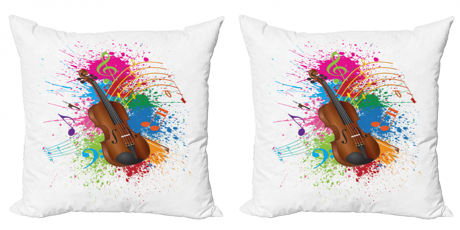 Music Throw Pillow Cushion Cover Pack Of 2 Color Splashes Violin Treble Chef Musical Notes Digital Illustration Print Zippered Double Side Digital Print 4 Sizes White And Multicolor By Ambesonne Walmart Com