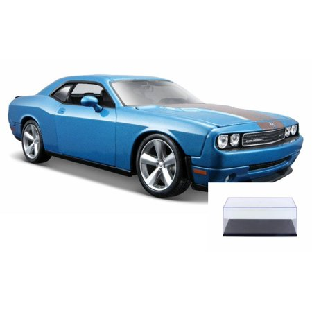 Challenger Hardtop - Diecast Car & Display Case Package - 2008 Dodge Challenger SRT8 Hard Top w/ Sunroof, Blue - Maisto 31280BU - 1/24 Scale Diecast Model Toy Car w/Display Case