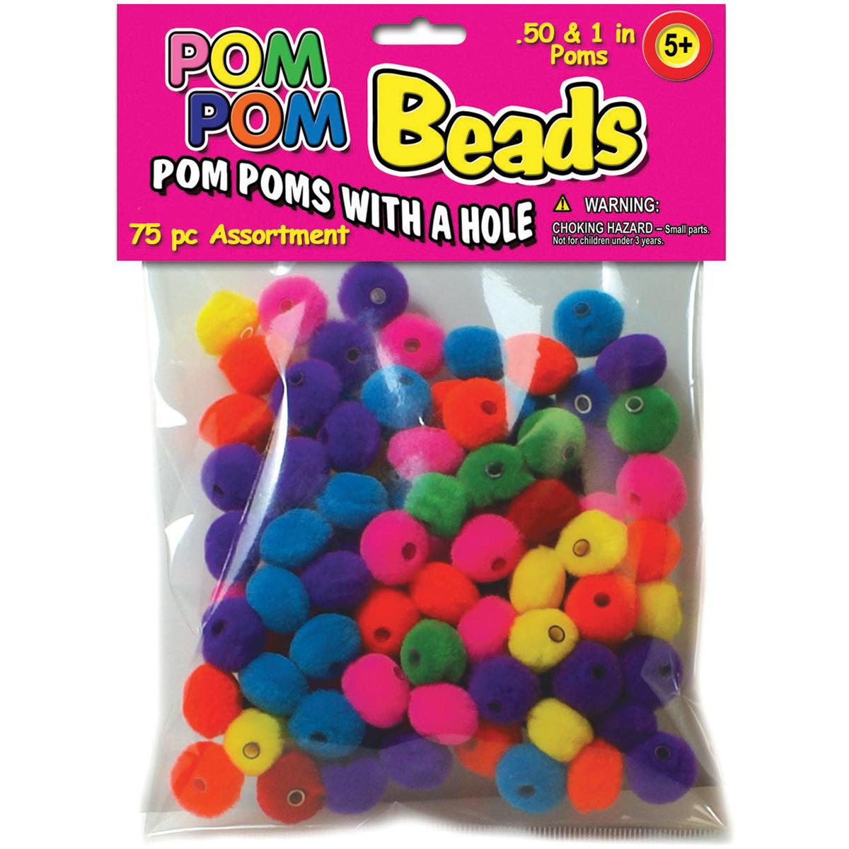 """Pom-Pom Beads .5"""" & 1"""" 75/Pkg-Assorted"""