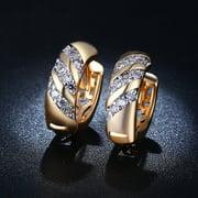 Girl12Queen Vintage CZ Jewelry Cubic Zirconia Wedding Party Hoop Huggie Earrings for Women