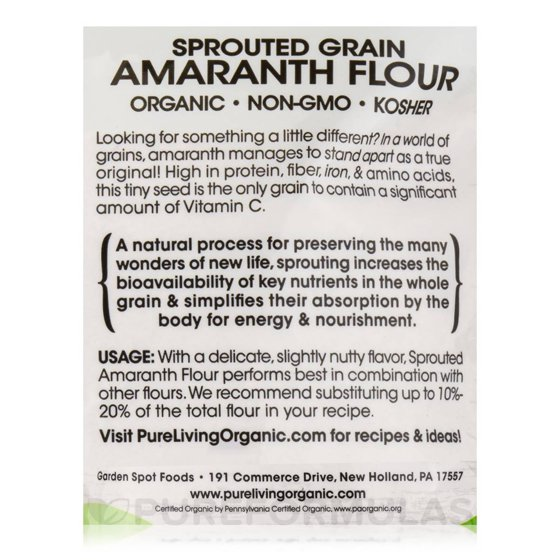 Sprouted Grain Amaranth Flour - 24 oz (680 Grams) by Pure Living