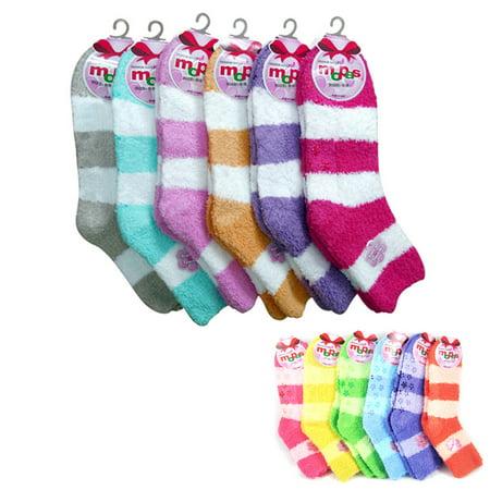 New 3 Pairs Fuzzy Soft Socks Ladies Girls Non Skid Strip 9-11 Winter Warm Fuzzy
