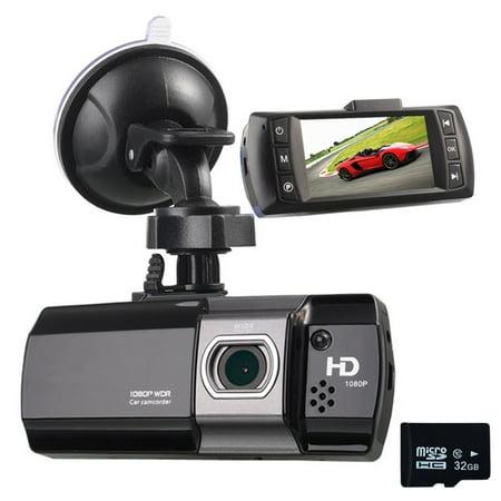Podofo Dash Cam 1080P Full HD Car Camera DVR Night Vision WDR G-sensor Vehicle Video Recorder and 32GB Micro SD Card