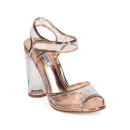 Women Lucite Block Heel - Ankle Strap Chunky Heel - Peep Toe Perspex Heel -  HK53 By Cape Robbin