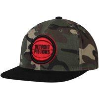 Detroit Pistons Mitchell & Ness Natural Snapback Adjustable Hat - Camo - OSFA