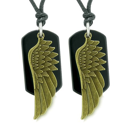 Guardian Angel Wings Protection Powers Best Friends or Love Couples Set Black Agate Adjustable -