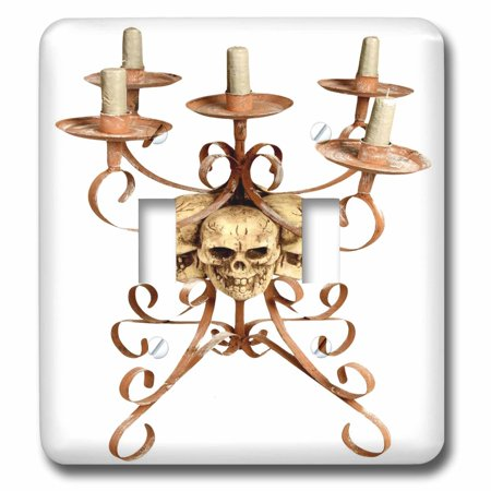 3dRose Halloween Skull Triple Candelabra, Double Toggle Switch - Skull Candelabra