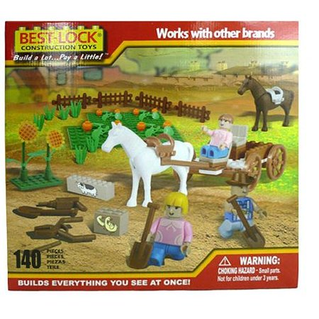 Best Lock Construction Horse, Carriage and Garden Building Set - 140 Pieces