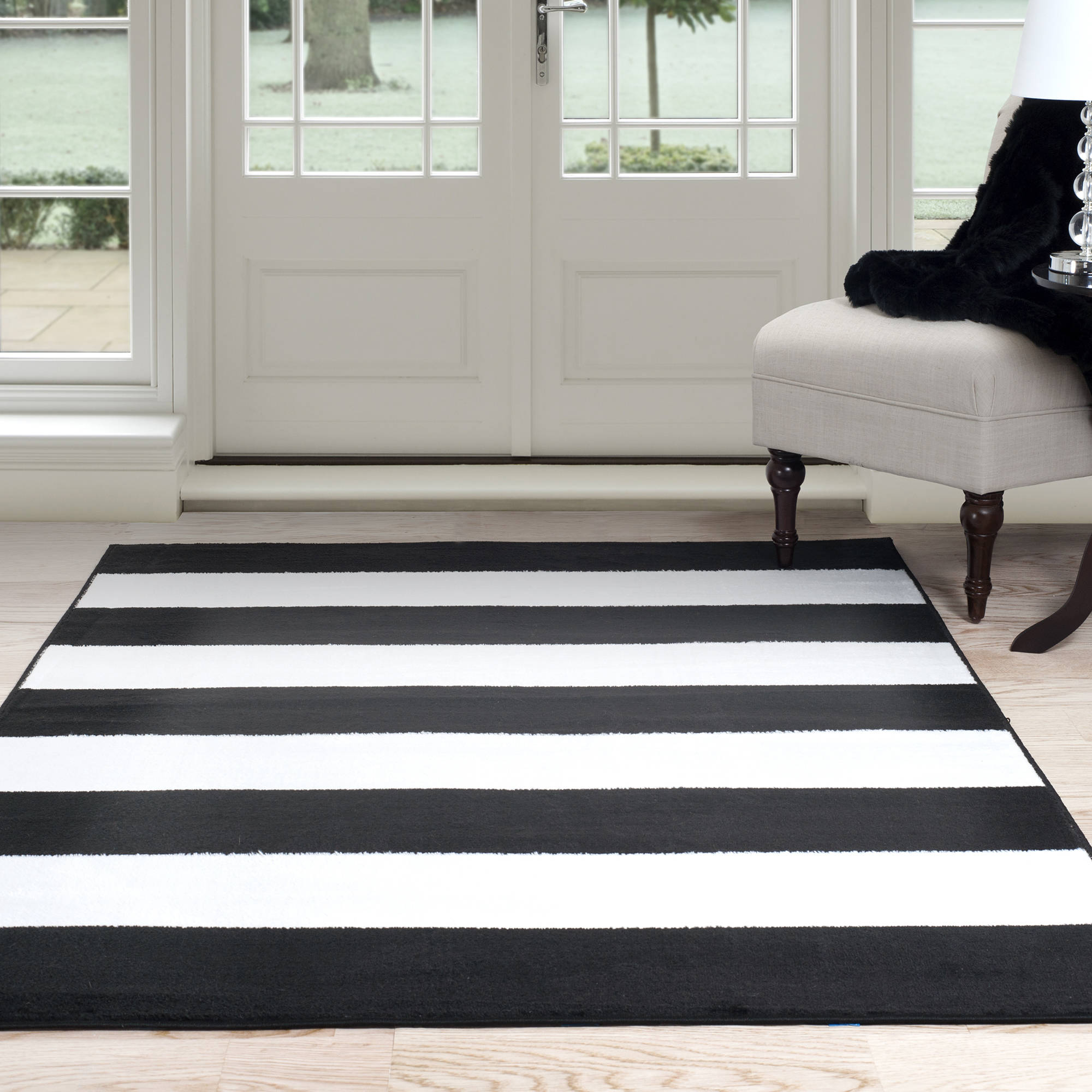 Somerset Home Breton Stripe Area Rug, Black and White by Trademark Global