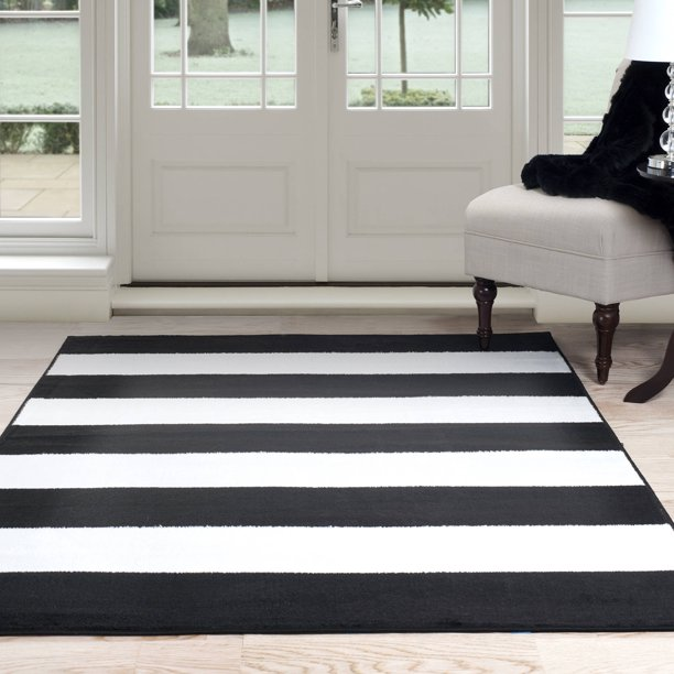 Somerset Home Breton Stripe Area Rug, Black and White   Walmart