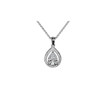 Cluster Jewelry - Isabel Queen 18k White Gold Halo Teardrop Pendant Necklace - Silver Halo Necklace w/Solitaire Round Cut Cubic Zirconia Diamond Cluster - Wedding Anniversary Jewelry - MSRP - $150