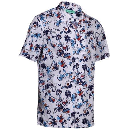 caf302c4 Mio Marino Mens Hawaiian Shirt - Funky Floral Shirt for Men - Short Sleeve Aloha  Shirt - Bluebud - Large