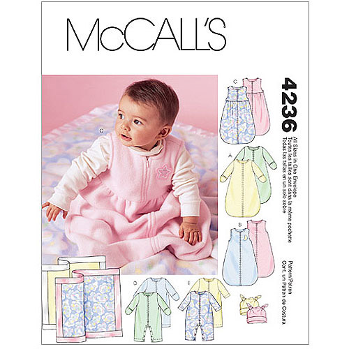 McCall's Pattern Infants' Buntings, Jumpsuits, Hats and Blanket, All Sizes in 1 Envelope