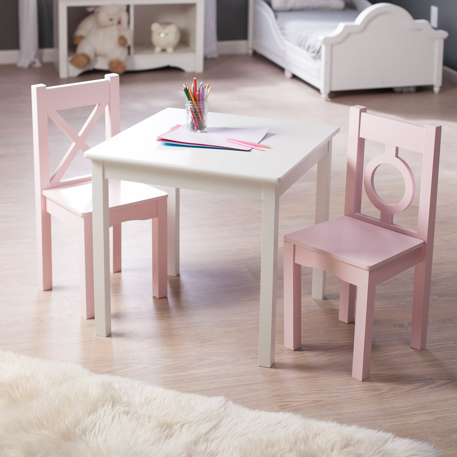 Lipper Hugs and Kisses Table and 2 Chair Set - White u0026&; ... & Lipper Hugs and Kisses Table and 2 Chair Set - White u0026amp; Pink ...