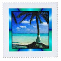 3dRose Painted Palm Tree - Quilt Square, 10 by 10-inch