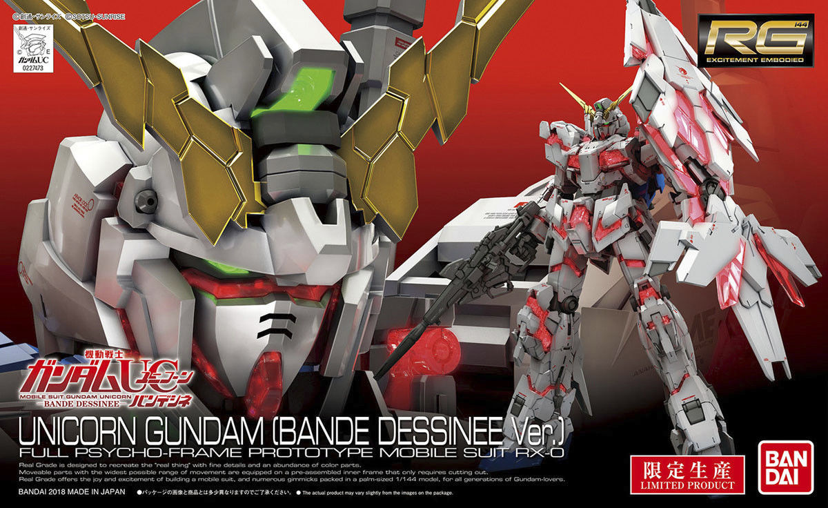 Bandai Hobby UC RX-0 Unicorn Gundam Bande Dessinee Ver. RG 1 144 Model Kit by Bandai Hobby