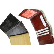 Eel skin Men's trifold credit card ID wallet Burgundy