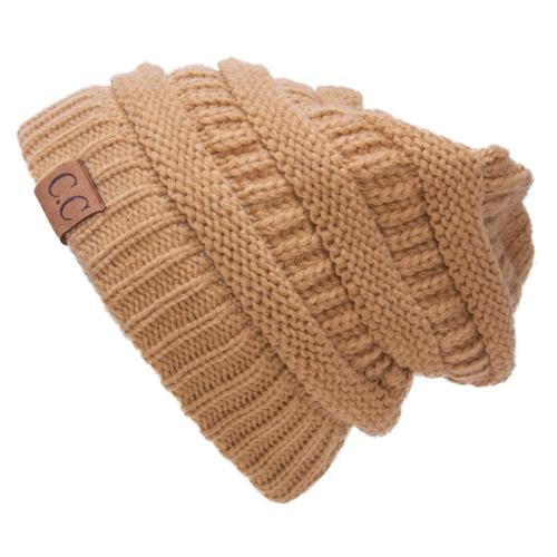 Thick Knit Soft Stretch Beanie Cap - Camel
