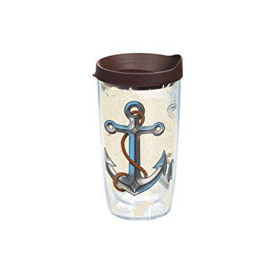 tervis nautical anchor away wrap bottle with brown lid, 16-ounce, on the water