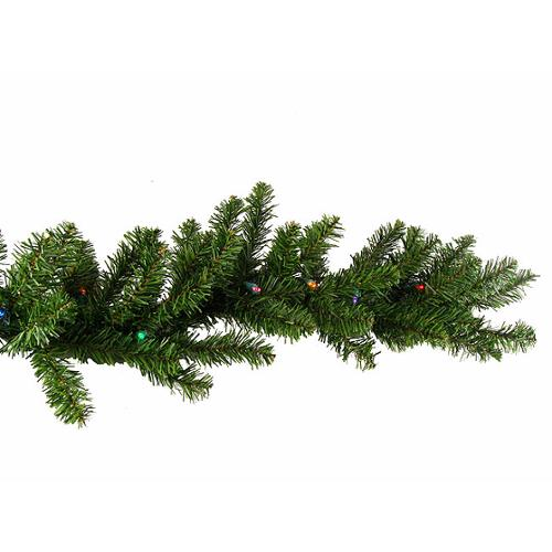 """9' x 10"""" Pre-Lit Battery Operated Pine Artificial Christmas Garland - Multi-Color LED Lights"""