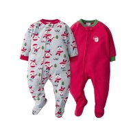 Gerber Baby Toddler Boy or Girl Unisex Holiday Microfleece Blanket Sleepers Pajamas, 2-Pack