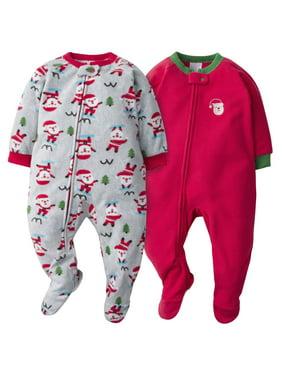 Gerber Baby Toddler Boy or Girl Unisex Christmas Microfleece Blanket Sleepers Pajamas, 2-Pack