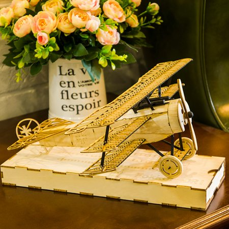 Dancing Wings Hobby VX11 1/18 Fokker DRI Wooden Static Airplane Model Display Replica Craft Wood Furnishing Gift for Children and Adults