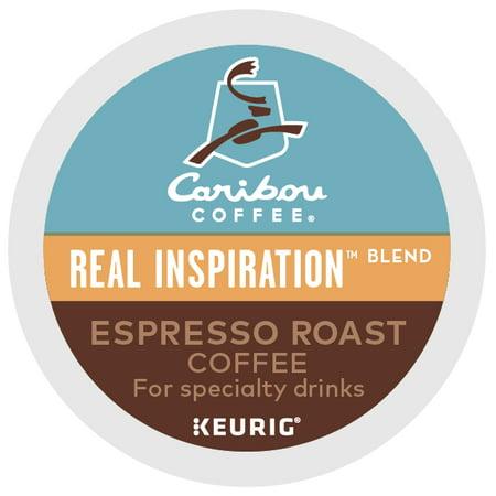 Espresso Pods ((2 Pack) Caribou Coffee Real Inspiration Espresso Roast, Keurig K-Cup Pods, Medium Roast, 6 Count )