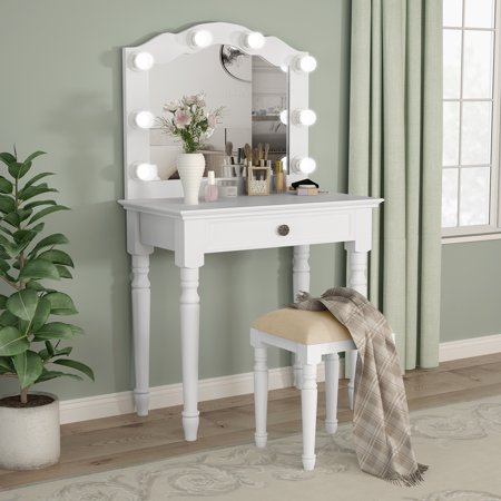 Tribesigns White Vanity Set With Lighted Mirror Makeup Dressing Table And Stool Large Drawer Dresser For Women
