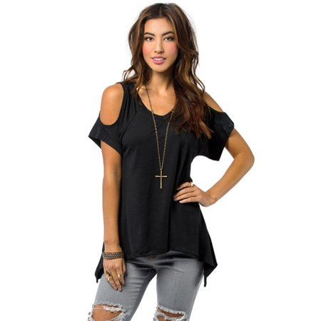 OUMY Cold Shoulder Summer Casual Tunic Tops for Women Plus Size