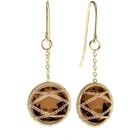 18kt Gold over Sterling Silver Hand-Wrapped Round Smokey Quartz Stone Earrings