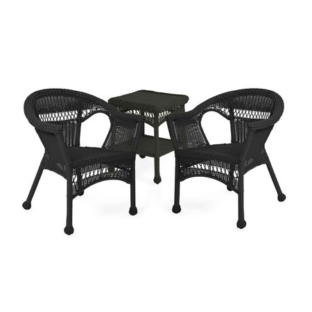Easy Care Resin Wicker Furniture Set, Two Chairs and End Table, in Black ()