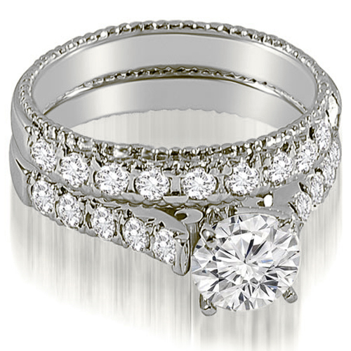 1.50 CT.TW Vintage Cathedral Round Cut Diamond Bridal Set in 14K White, Yellow Or Rose Gold